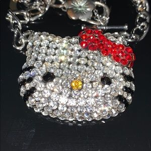 Hello Kitty necklace with Swarovski crystals 18in